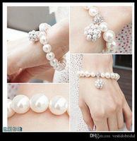 2020 Korean Style Wedding Bracelet Bridal Party Jewelry Faux Pearl Rhinetone Free Size Prom Evening Party Bracelet Bridal Accessories