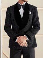 Handsome Double-Breasted Groomsmen Shawl Lapel Groom Tuxedos Men Suits Wedding Prom Dinner Man Blazer(Jacket+Tie+Pants) T331