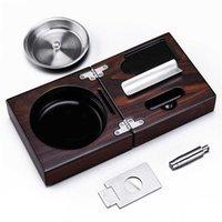 Nice Portable MirageBlack Folding Stainless steel Smoke Slot Soild Wood Cigar Ashtray with Cutter Punch CE-1205 210402