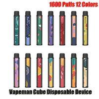 Otantik Vapeman Küp Tek Kullanımlık Cihaz Kiti 1600 Puffs 850 mAh Pil Prefice 4.5ml Pod Vape Sopa Kalem Bar Artı XXL 100% Orijinal