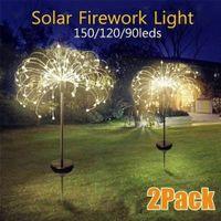 2pcs Solar Powered Outdoor Grass Globe Dandelion Fireworks Lamp 90 120 150 LED For Garden Lawn Landscape Lamp Holiday Light