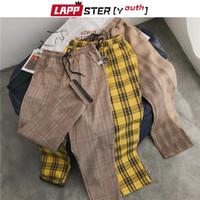 Lappster-Gençlik Streetwear Sarı Ekose Pantolon Erkekler Joggers 2021 Erkek Düz Harem Pantolon Erkekler Kore Hip Hop Pantolon Artı Boyutu