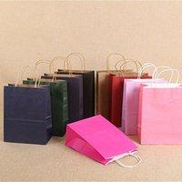 Consegna rapida! 10 colori Blank Shopping Bags Maniglia Kraft Paper Sacchi multifunzione Sacchetto di carta morbido Multibunction Festival Regalo Packaging Bag A12