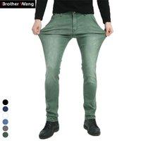 Brother Wang совершенно новые мужские упругие джинсы моды мода тонкие джинсы джинсы повседневные брюки брюки джинс мужской зеленый черный синий 210317