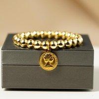 Perlé, brins mode reine elizabeth charme bracelets femmes nature couleur couleur hématite perles bracelet en acier inoxydable monnaie petite amie jewe