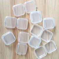 مصغرة البلاستيك واضح مربع صغير مجوهرات سدادات تخزين مربع حالة شفافة مربع الحاويات حبة ماكياج واضح المنظم هدية WLL326