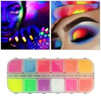 Eye Shadow Holographic Neon Powder 12 Colors Eyeshadow Palette DIY Fluorescent Glitter Nail Art Mineral Pigment Manicure TSLM2