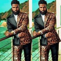 Unique Leopard Men Wedding Tuxedos 2 Pieces Groom Pants Suits Party Prom Jacket Business Wear Outfit traje hombre