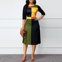 Womens Dresses Geometric Pattern Dress Large Size Women's Round Neck Three-Quarter Sleeves With Stitching Fashion Simple