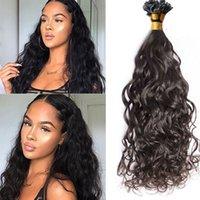 자연 웨이브 플랫 팁 인간의 머리카락 확장 100 스트랜드 Blck 여성용 브라질