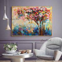 Pinturas Árbol Imagen ilustraciones hechas a mano Resumen de pintura al óleo de decoración colorida en lienzo Fotos de arte de pared para sala de estar