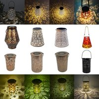 Solar Lamps LED Light Lantern Projection Wrought Iron Hanging Lamp Outdoor Waterproof Garden Yard Art Home Decorations Dropship