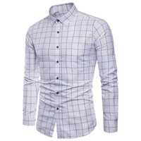 Mens Shirt long sleeve Of Oxford Formal Casual Plaid Slim Fit Dress Shirts Top male chemise homme M-5XL