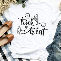 Kadın T Shirt Lady Örümcek Web Mektubu 90s Cadılar Bayramı Şükran Günü Baskı Bayan Giysileri Gömlek Tişört Kadın Üst Grafik