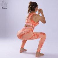 YOGA Kıyafet 2 Parça Kravat Boyalı Dikişsiz Set Kadın Güzellik Geri Sutyen Sportwear Spor Giyim Spor Tayt Egzersiz Spor Takım Elbise