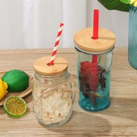 Bamboo Lid 70mm 88mm Reusable Mason Jar Lids with Straw Hole and Silicone Seal Bottle Cap