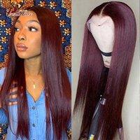 Kırmızı Bordo Renkli Düz İnsan Saç Dantel Ön Peruk 180% Yoğunluk HD Şeffaf Peruk Remy Brezilyalı Dantel Parçaları Kadınlar için Peruk