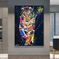 Colorido tigre animales lienzo pintura artesanía arte posters y estampados imágenes de arte de la pared para la sala de estar decoración de la casa moderna