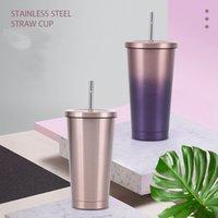 304 canecas Copo de palha de aço inoxidável 500ml Double Layer Isolamento Macaron Gelo Tyrant Presente Café Flat Bottom Copos