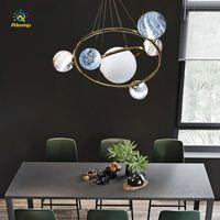 샹들리에 펜던트 조명 노르딕 갤럭시 도금 금속 DIY 7 13 헤드 현대 샹들리에 램프 거실 룸 레스토랑 장식