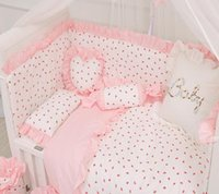 아기 침구 세트 코튼 핑크 레이스 딸기 패턴 유아용 침대 베개 이불 이불 커버 신생아 침대 매트리스 커버 아기 침대 세트