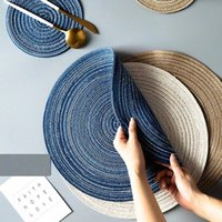 1PC Round Placemats Braided Place Mats for Dining Heat Insulation Kitchen