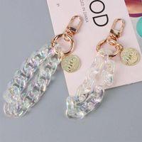 Colorful Acrylic key Rings earphone holders Keychain Charms Fashion Backpack Chain Pendant Creative Unisex 2 colour