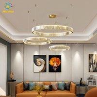크리스탈 샹들리에 서클 현대 LED 샹들리에 램프기구 램프 매달려 램프 라운드 링 펜던트 조명 홈 거실 장식
