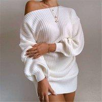 Женщины без бретелек вязание моды Trend с длинным рукавом короткая юбка дизайнер женская зима Новый повседневный свободный свитер платье
