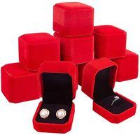 Cajas de anillo Pendiente Pendiente de joyería Estuche de almacenamiento Caja de embalaje de regalo para la boda Cuadros de pantalla cuadrados