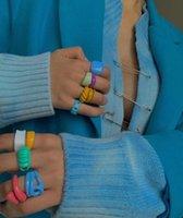 Küme Yüzükler Su Geçirmez Stilleri Reçine Macaron Şeker Akrilik Parmak Knuckle Kadınlar Kızlar için Plaj Parti Estetik Takı Hediyeler