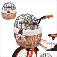 CAT поставляет Главная Гарданценция Носители, Ящики Дома Дома для собак Велосипеда Корзина сплетенного велосипеда Передняя руль Плетеная Маленькая для домашних животных Адвокат Адкт-мальчики Гир