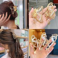 Hair Accessories Korean Metal Hollow Claw Butterfly Pearl Clip For Woman Elegant Tassel Hairpins Girls Gift 2021