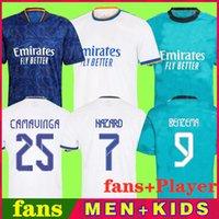 레알 마드리드 유니폼 21 22 축구 축구 셔츠 플레이어 Alaba 위험 Sergio Ramos Benzema Modric Asensio Camavinga Kroos Vini Casemiro 남자 키트 2021 2022 유니폼