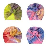 Kinder Krawatten gefärbte Farben Drucken Neugeborene Baby Caps Kinder Jungen Mädchen Donut Elastic Pullover Indische Kappe Kopf Band Infant Outdoor Hut G697G0H