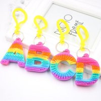 Rainbow Letter toy Pvc Keychain Pendant Soft Silicone Color Car Bridal Gift Party Supplies Baby Shower Decorations EWB8925