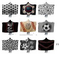 Baseball Hooded Blankets 150*130cm air conditioning Blanket Hooded Bath Towel Soft Winter Sherpa Fleece Throw Blankets HWE7544