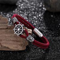 Bracelets de charme MKENDN NAVY MEN ANCHOR Camping en plein air Bracelet de corde pour femme en acier inoxydable bijoux