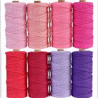 3mm 100% Baumwollkordel Bunte Schnur Seil Beige Twisted Craft Macrame String DIY Home Neue Textilien Hochzeit Dekorative Lieferung 110 yards 49 s2