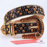 Studded Diamond Bling PU Leather Belts Luxury Crystal Waist Woman Strap Western Cowboy Rhinestone Belt