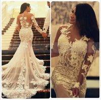 Gorgeous Lace Mermaid Wedding Dresses 2022 Bridal Gown Sexy Illusion Back Applique Scoop Neck Tulle Sweep Train vestidos de novia Long Sleeves