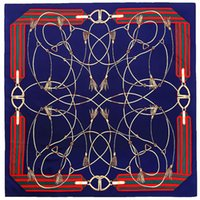 Scarves Twill Weave Silk Square Scarf Rope Chain Print Neckerchief Bandana Women Headwear Shawl Designer Large Size 130*130 Cm