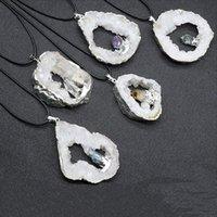 Pendant Necklaces Healing Natural Agates Irregular White Agat Stone Slice Pendulum Amethysts Citrines Kyanite Crystal Necklace