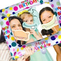 Birthday party favors Boy girl Birth party Photo Hand Holder frame booth props Balloon frame Family group photo Babyshower decor Y0730