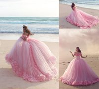 Puffy Pink Quinceanera Dresses Princess Cinderella Long Ball Gown sweety 15 year girls prom evening dress Off Shoulder 3D Flower