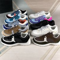 Старинные замшевые повседневные туфли мужчины женщины теленокскинские кроссовки моды увеличение платформы обуви высочайшего качества кожаные тренеры с аксессуарами коробки