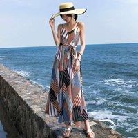 Casual Dresses Party Seaside holiday beach Chiffon suspender Bohemian long skirt geometric pattern ethnic dress female summer