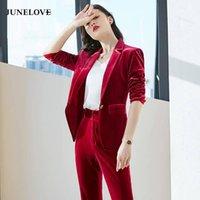 Junelove 2021 Feste Frühling Frauen Business Hose Anzüge Uniform Formale Jacke Pant Blazer Set Velvet Einreiher Blazer