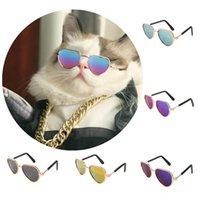 Kedi Kostümleri Serin Köpek Pet Kalp Gözlük Sevimli Ürünler Yansıma Kediler Güneş Gözlüğü POS Sahne Aksesuarları Malzemeleri Göz Giyim