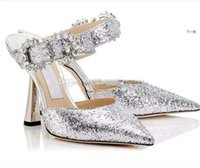 {Original Box}Sparkling Sequins Lace Red Wedding Shoes Comfortable Designer Bridal Pointed Toe JC High Stiletto Heels Dress